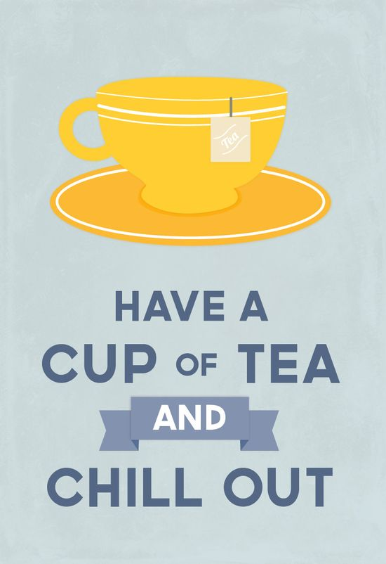 Tea lover, retro kitchen art, modern design, typography, relax, Drink Tea and Chill Out, blue/yellow: Large A3 11.7 x 16.5 inches.