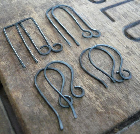 hand forged oxidized ear wires