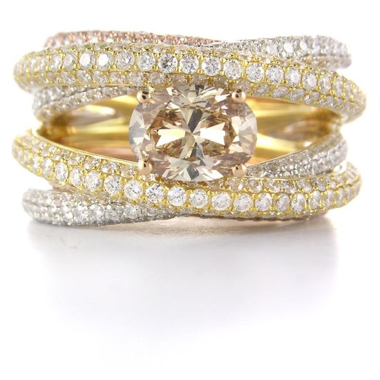White, yellow and rose gold #engagement #ring with a champagne diamond
