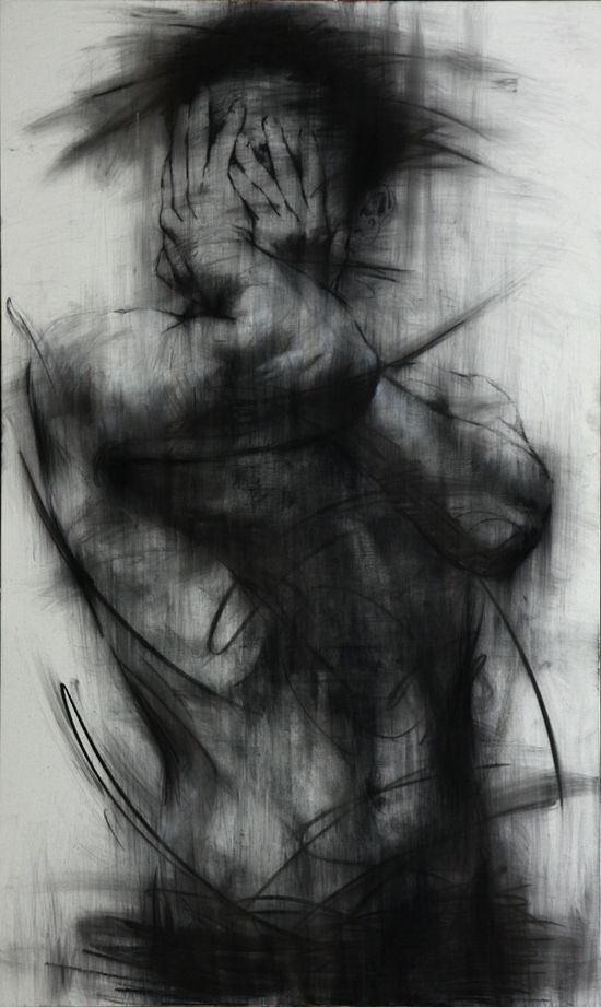 Untitled charcoal on canvas 162 x 96 cm 2013 on Drawing Served- stunning work.