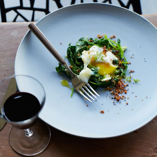 Poached Eggs with Bacon Crumbs and Spinach // More Fabulous Egg Recipes: www.foodandwine.c... #foodandwine