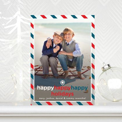 Happiness Aplenty - #Holiday Photo Cards in a bright Neptune Blue
