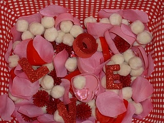 Valentine themed sensory bin