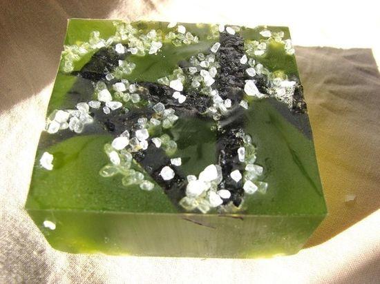 By the Sea, Sea Salt Kelp Vegan Handmade Soap, made with real sea salt, kelp via Etsy