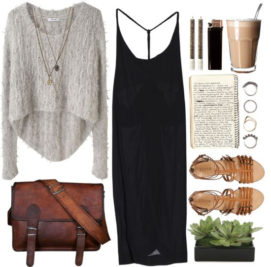 Love this fall outfit - sweater over a maxi