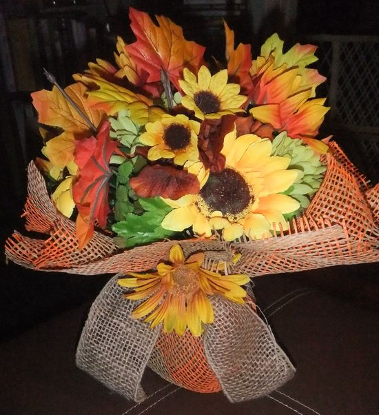 Flower Arrangement wrapped in Burlap