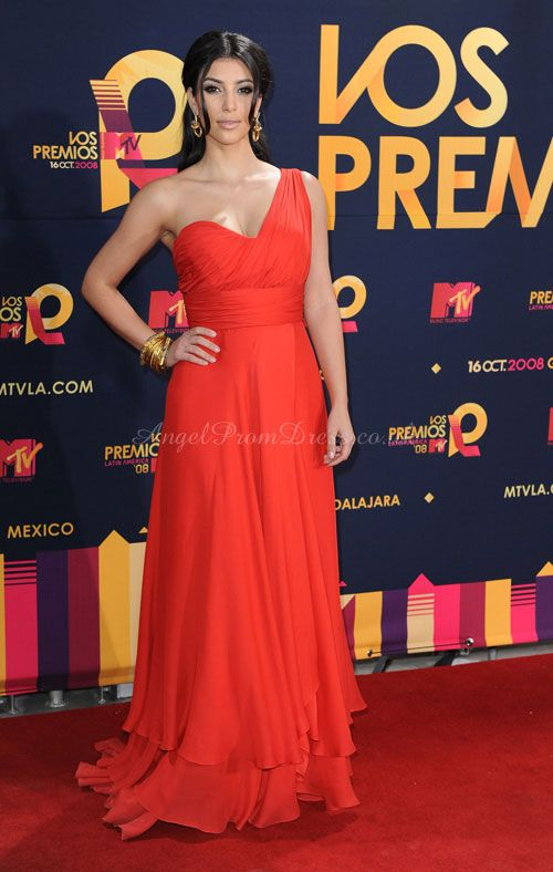 Sleeveless Empire Long Chiffon Ruching & Sash One Shoulder Celebrity Dress