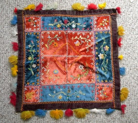 Antique Table Cover Velvet Silk Victorian Embroidered 1800s Bohemian