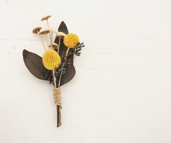 Natural craspedia, eucalyptus and button flowers