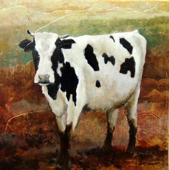 Holstein cow PRINT of an original oil painting paper is 8.5 x 11 image is 8 x 8 black and white cow cow decor G. Peine Toomalatai. $15.00, via Etsy.