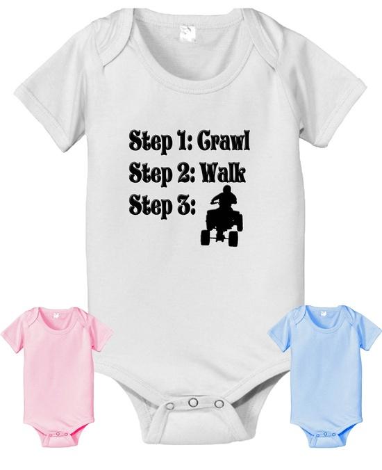Future ATV steps crawl walk infant baby onesie. white pink or baby blue color 4 wheeler. $14.25, via Etsy.