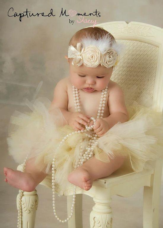 Fondness Baby Headband,Baptism,Christening feather Headband-Vintage Look,Flowere
