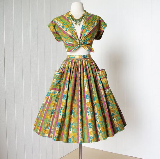 vintage 1950s dress fabulous midriff #partydress #vintage #frock #retro #teadress #romantic #feminine #fashion