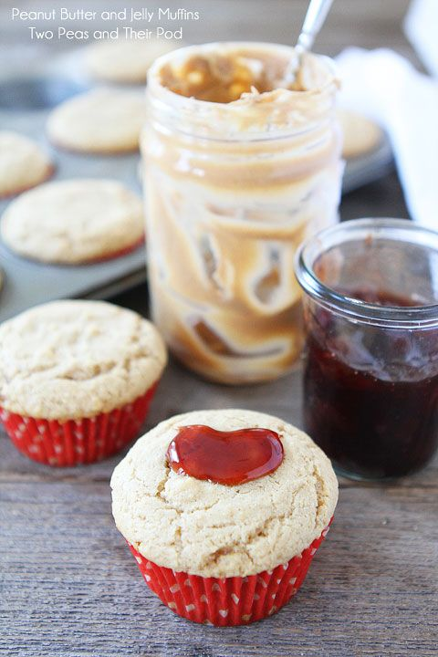 Peanut Butter and Jelly Muffins Recipe on www.twopeasandthe...