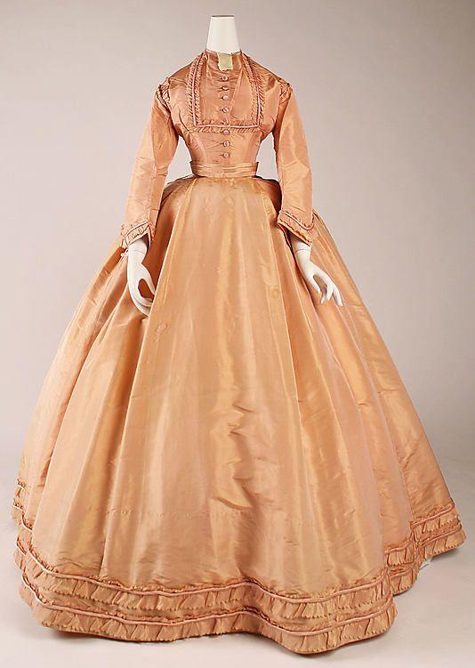 Peach silk dress with day bodice, French, ca. 1864.
