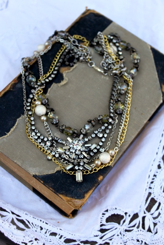 Vintage Rhinestone, Twisted Assemblage Necklace