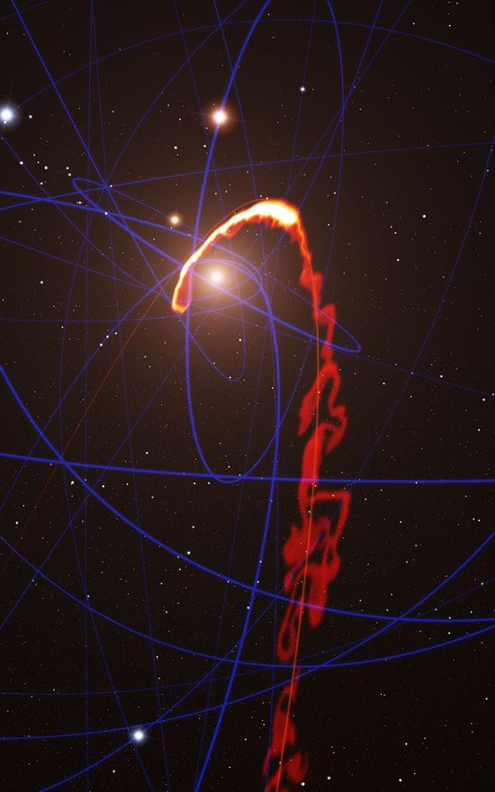 #Astronomy: This simulation of a gas cloud passing close to the #supermassive black hole at the centre of the galaxy shows the situation in mid-2013. (Space Cloud Ripped Apart by #MilkyWay's Giant Black Hole)