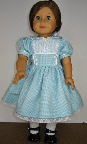 Aqua Microcheck Easter Dress for American Girl Doll. $68.00, via Etsy.