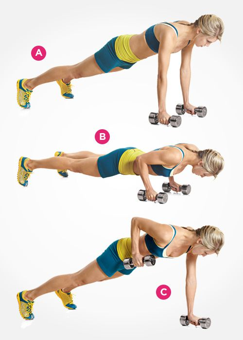 Define your abs with the dumbbell pushup row.