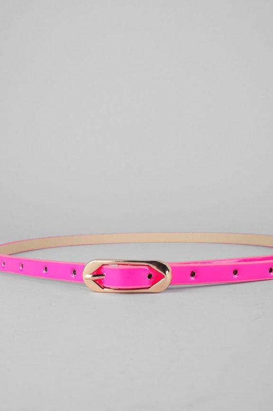 Pink skinny belt