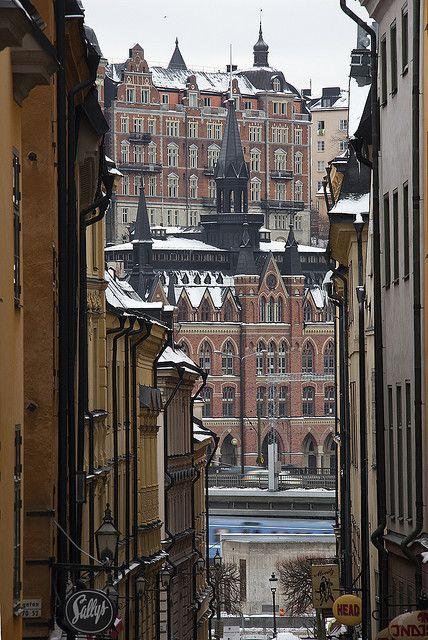 Vista down a narrow street in Gamla Stan - Stockholm,  Sweden
