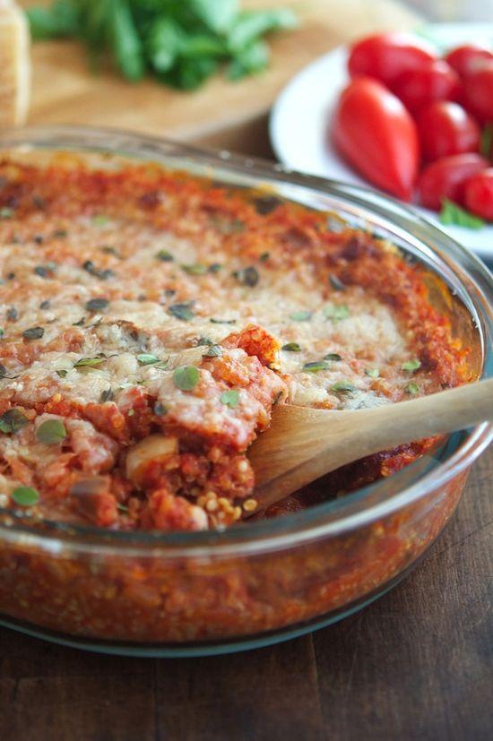 Eggplant Parmesan Quinoa Casserole by theironyou #Eggplant #Quinoa #Healthy