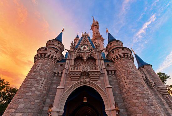 A sunset view of Cinderella Castle at the Magic Kingdom. #WaltDisneyWorld