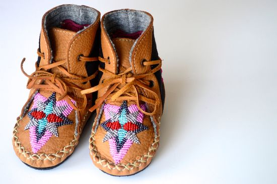 Baby and Toddler handmade leather beaded wool-lined moccasin winter boots