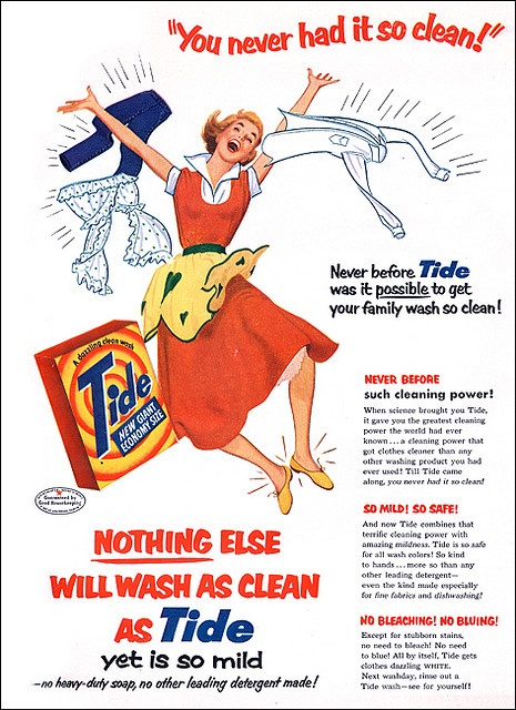 Even by 1950s standards that a heavy dose of excitement in one ad! :) #vintage #ad #homemaker #1950s #laundry
