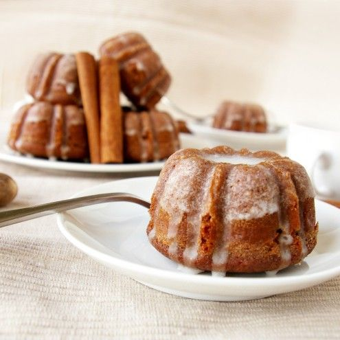 Mini Gingerbread Bundt Cakes with Cinnamon Glaze
