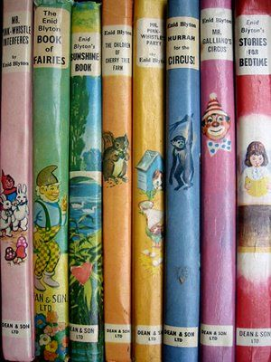 Enid Blyton - not only are they perfect childhood reading, their candy colored dust jackets are happy and comforting