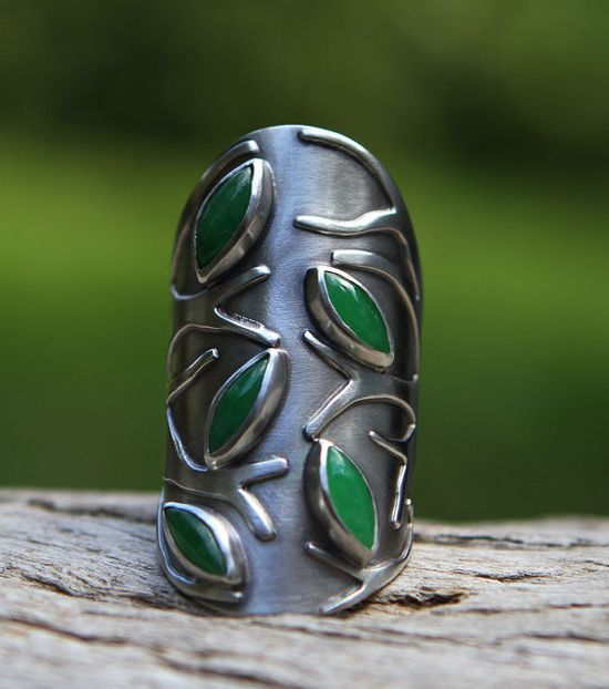 Summer tree  jadeite and sterling silver ring by spiralstone, $250.00