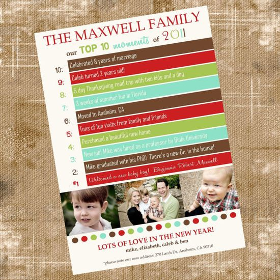 Christmas card - mix between a Christmas card and yearly newsletter. Love this!  #Christmas