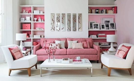 Beautiful pink sofa via Interior House Designs