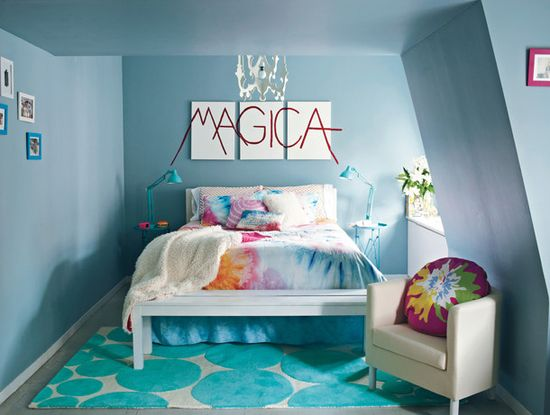 Colorful Teen Bedroom Design With Blue Wall And Sofa ~ lanewstalk.com/...