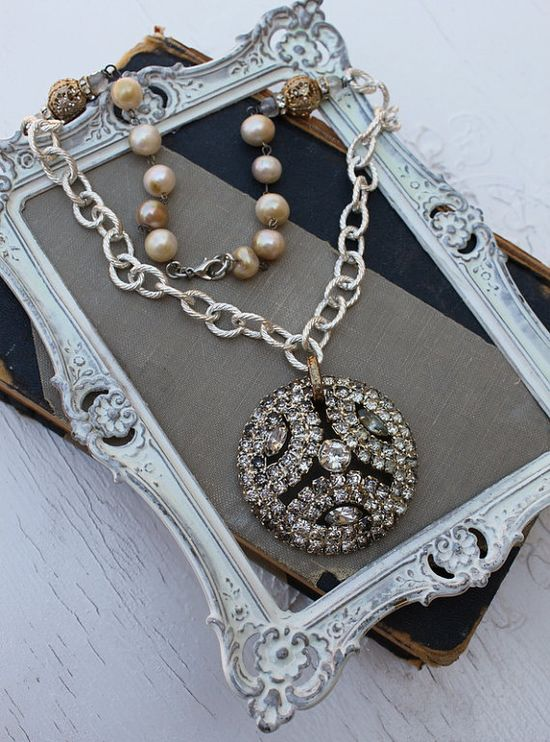 Vintage Rhinestone and Fresh Water Pearl Necklace~