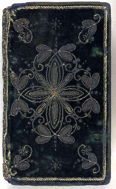 17th century embroidered velvet book cover.