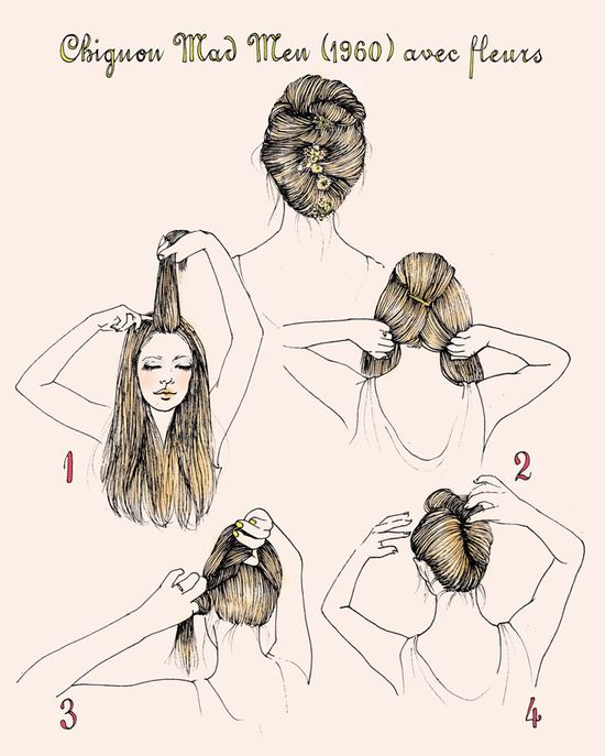 She Lets Her Hair Down: Tutorial :: 1960s French Twist with Flowers