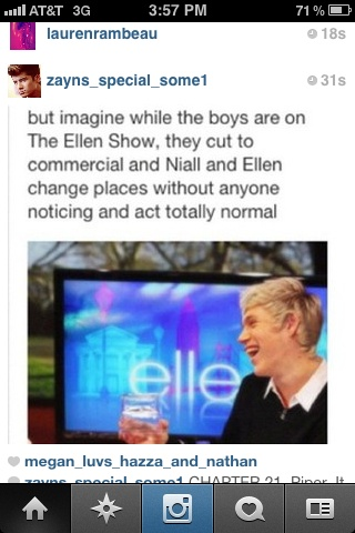 the awkward moment when i cant tell if the person in the picture is niall or ellen... like im being totally 100% serious, who is it?!