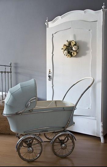 Cute baby boy room, love the baby blue vintage pram