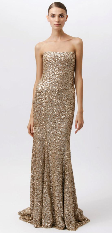Gold Monique Lhuillier  Gown