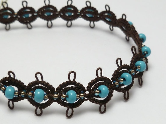 Tatted Bracelet in Dark Brown with Turquoise and by SnappyTatter, $19.00