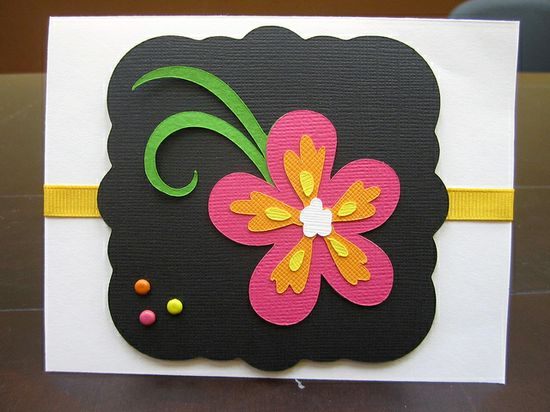 handmade card ... Cricut cut flower in bright passionate colors on black label .... luv the bright colors  ... gorgeous card!!