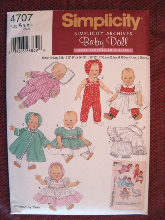 4707 - More Doll Baby Clothes