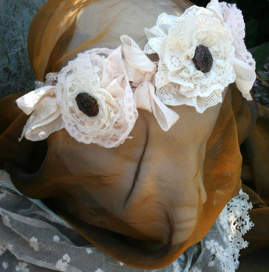 Brides head band  Ivory and cream vintage by youruniquescrapbook, £49.99