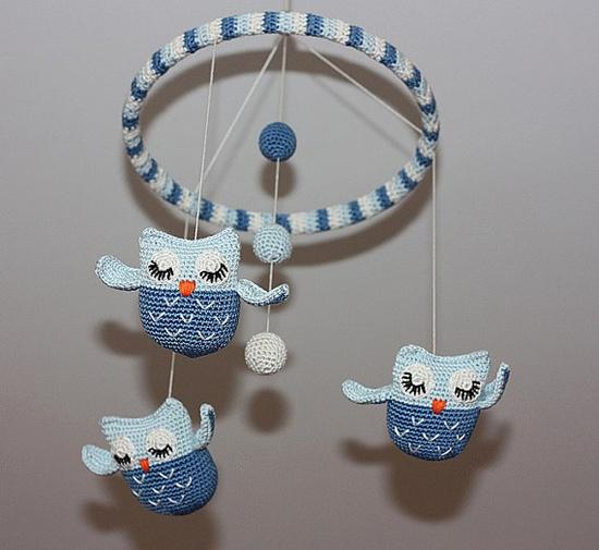 crochet owl mobile!!