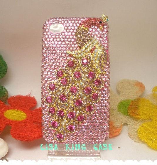 Bling  rhinestone pink peacock  iphone 4 case cover iphone 4s case iphone 5 case iphone 5 cover. $30.00, via Etsy.
