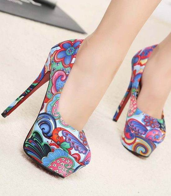 Lovely printed pumps #fashion shoes #girl fashion shoes