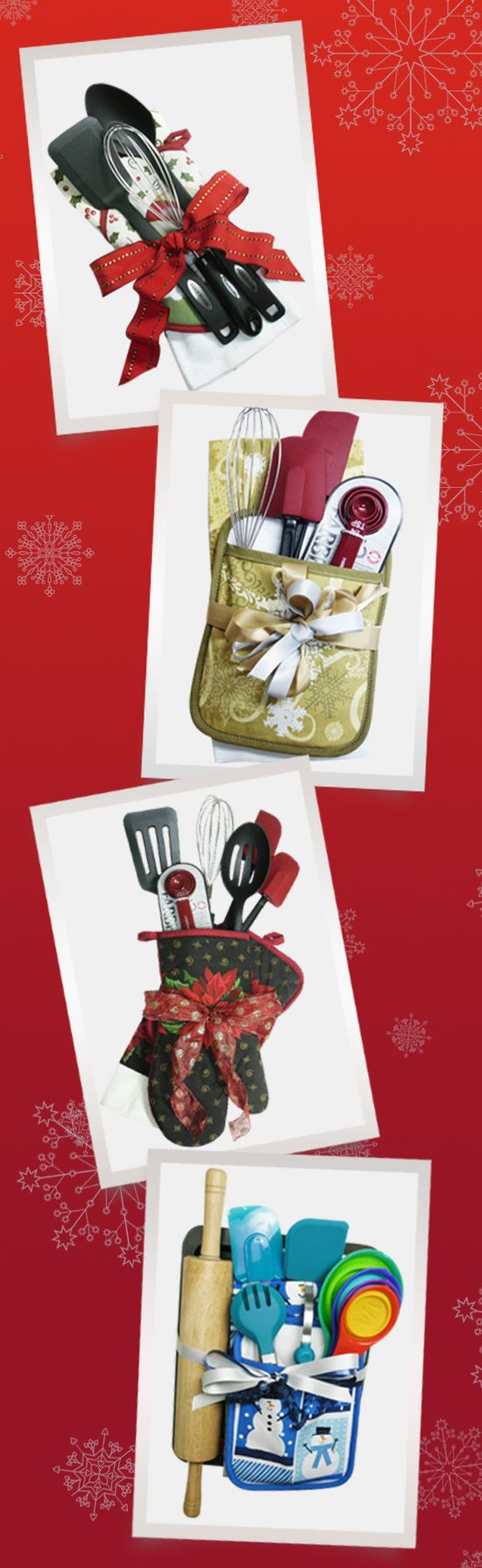 Perfect Do-it-Yourself holiday gift to make life in the kitchen a little more merry. Put together a collection of utensils with a kitchen towel, pot holder or oven mitt and tie it with a festive bow! Add a muffin tin, cookie sheet and rolling pin to mix things up for the baker in the family. Anna's has everything you need for great gift ideas like this and more! #AnnasLinens