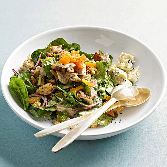 Whip up a sweet and savory salad using turkey, juicy apricot and fresh baby spinach.
